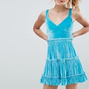 ASOS Velvet Tiered Mini Dress